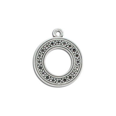 Metal pendant, 24mm, round, for pp14 stones, pewter