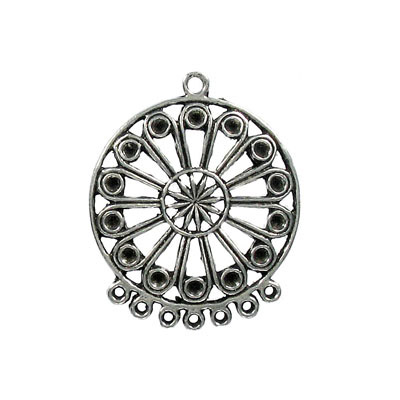 Metal pendant, 35mm, round, 7 loops, can be used with pp18 stones, pewter