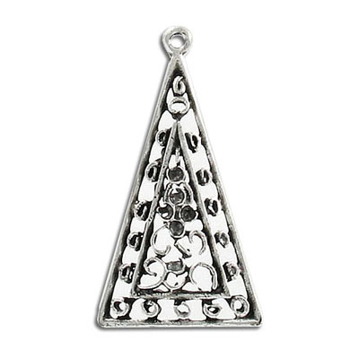 Metal pendant, 21x37mm, triangle, pewter