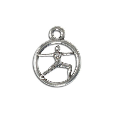 Yoga metal pendant, 20mm, warrior, 2-pose, pewter, lead free