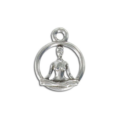 Yoga metal pendant, 20mm, lotus pose, pewter, lead free