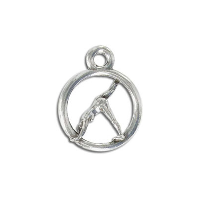 Yoga metal pendant, 20mm, half-downward dog pose, pewter, lead free