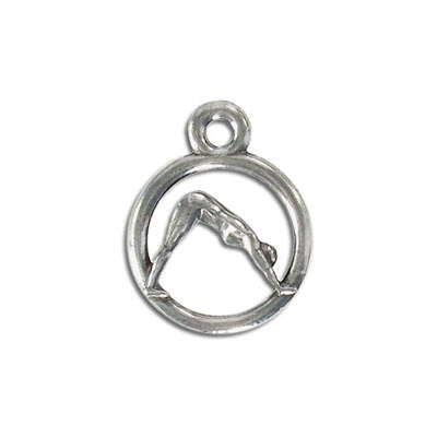 Yoga metal pendant, 20mm, downward dog pose, pewter, lead free