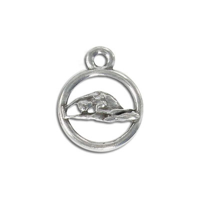 Yoga metal pendant, 20mm, sideward bend pose, pewter, lead free