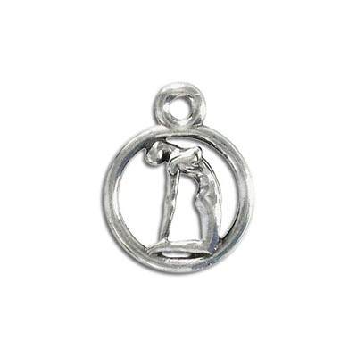 Yoga metal pendant, 20mm, camel pose, pewter, lead free