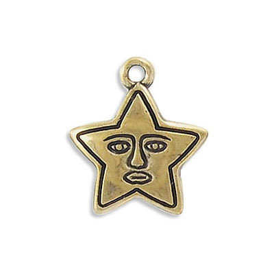 Plastic pendant, 16mm, starface, antique gold