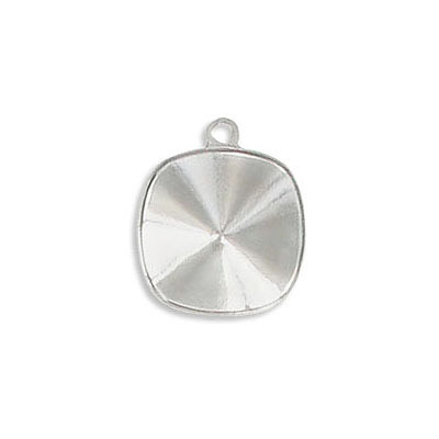 Metal pendant setting for Swarovski 4470/12mm, rhodium plate
