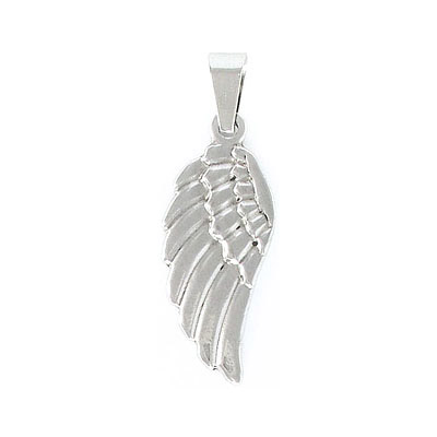 Metal pendant, 35x15mm, wing, stainless steel, grade 304l