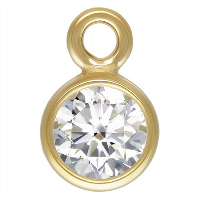 Metal pendant, 3mm drop, white clear cubic zirconia, gold filled, gold plate