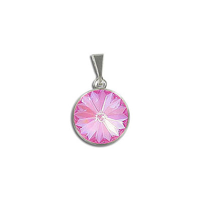 Metal pendants, Swarovski 1122 rivoli, 12mm, crystal lotus pink delite, stainless steel