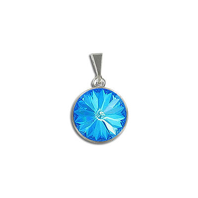 Metal pendants, Swarovski 1122 rivoli, 12mm, crystal royal blue delite, stainless steel