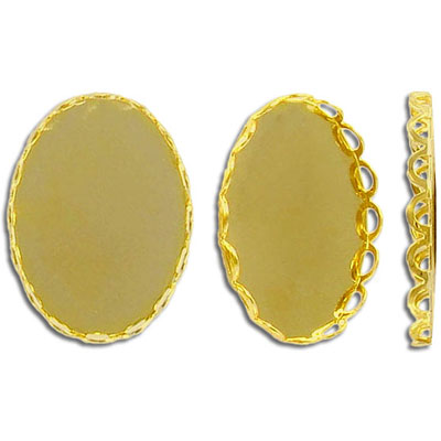 Cameo setting, 25x18mm, yellow