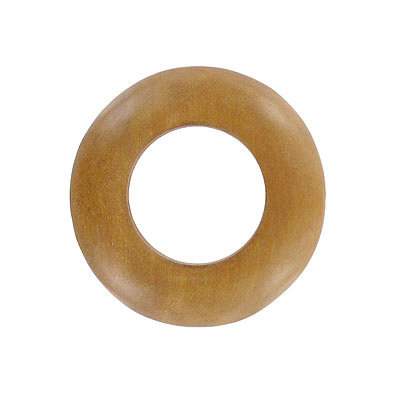 Wood bead pendant flat ring 63mm light brown