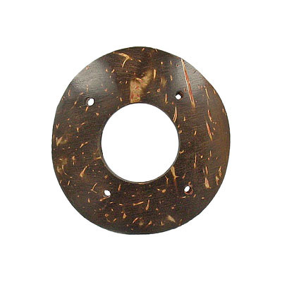 Wood pendant coconut shell flat ring 4 holes 45mm