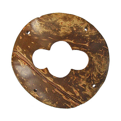 Wood pendant coconut shell flat 4 holes 55mm