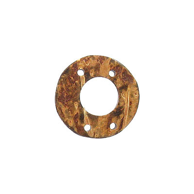 Wood pendant coconut shell flat ring 4 holes 25mm