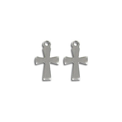 Cross pendant, 12mm, stainless steel