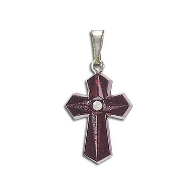Cross pendant siam silver plate, crystal