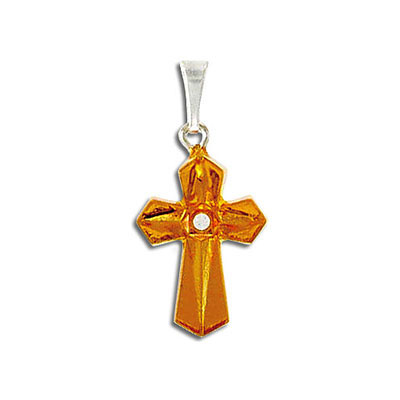 Cross pendant topaz silver plate, crystal