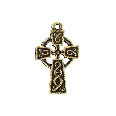 Metal pendant, celtic cross pendant, 20mm long, antique brass, lead safe