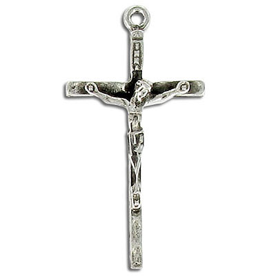 Crucifix pendant antique silver lead free