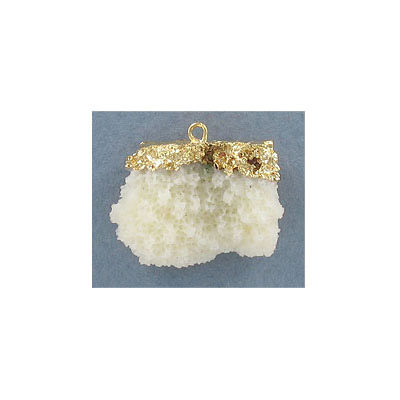 Resin coral pendant, 28x22mm, ivory, gold plate