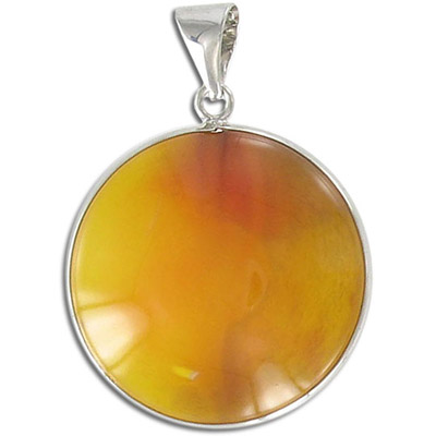 Gemstone pendant, round yellow-green agate with nickel plate setting