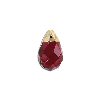 Gemstone pendant, 24mm, faceted drop, garnet, synthetic, gold cap