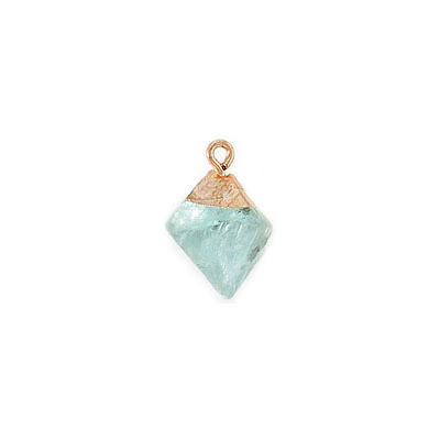 Gemstone pendant, 22mm, fluorite, gold cap and loop
