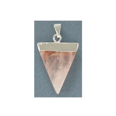 Gemstone pendant, approx. 33x26mm, rose quartz, silver plate bail