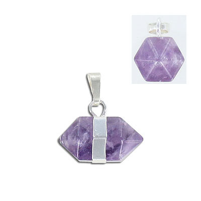 Gemstone pendant, approx.22x12mm, horizontal, amethyst, with silver plate bail