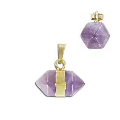Gemstone pendant, approx. 22x12mm, horizontal, amethyst, with gold plate bail