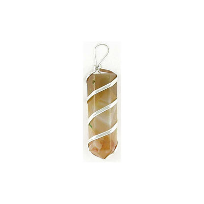 Gemstone pendant, point, approx. size 30-40mm, yellow agate with silver color wire