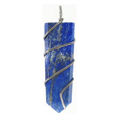 Gemstone pendant, flat point, approx. size 15-20mm x 50-55mm, lapis lazuli, with silver color wire