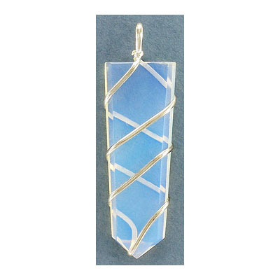 Gemstone pendant, flat point, approx. size 15-20mm x 50-55mm, moonstone, synthetic, with silver color wire