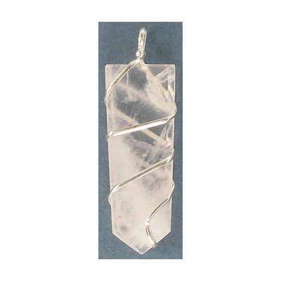 Gemstone pendant, flat point, approx. size 15-20mm x 50-55mm, rose quartz, with silver color wire
