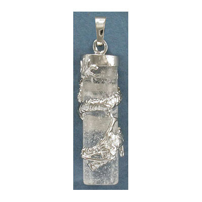 Gemstone pendant, 38x10mm, crystal, cylinder, with wrapped dragon and bail, rhodium imitation