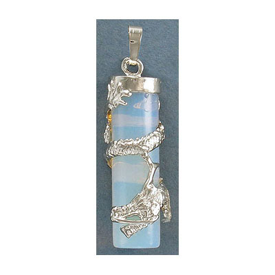 Gemstone pendant, 38x10mm, moonstone, cylinder, with wrapped dragon and bail, rhodium imitation