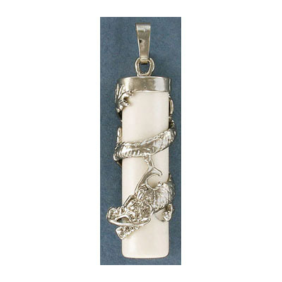 Gemstone pendant, 38x10mm, white howlite, cylinder, with wrapped dragon and bail, rhodium imitation