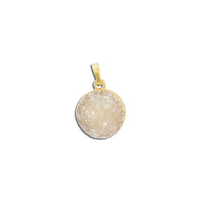 Gemstone pendant, 15mm, round, agate druzy, natural, with gold plate setting and bail
