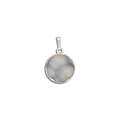 Gemstone pendant, 15mm, round, agate druzy, natural, with silver plate setting and bail