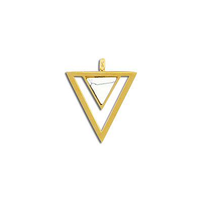 Gemstone pendant, 23x20mm, triangle, white howlite, stainless steel setting, gold vacuum plating