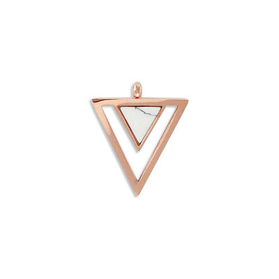 Semi-precious pendant, 23x20mm, triangle, white howlite, stainless steel setting, rose gold vacuum plating