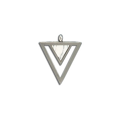 Gemstone pendant, 23x20mm, triangle, white howlite, stainless steel setting