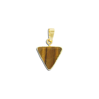 Gemstone pendant, 15mm, triangle, gold tiger's eye, with gold plate setting and bail