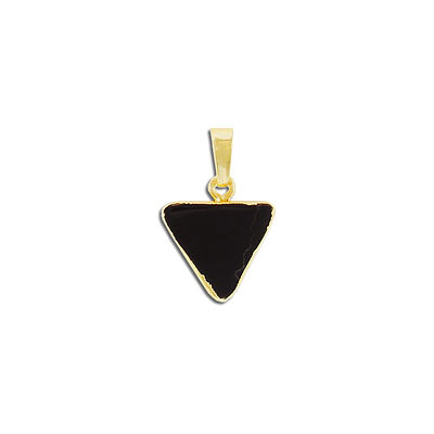Gemstone pendant, 15mm, triangle, black obsidian, with gold plate setting and bail