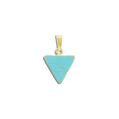 Gemstone pendant, 15mm, triangle, turquoise neolite, with gold plate setting and bail