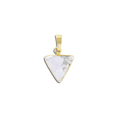 Gemstone pendant, 15mm, triangle, white howlite, with gold plate setting and bail