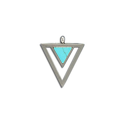 Gemstone pendant, 23X20mm, triangle, turquoise neolite, stainless steel