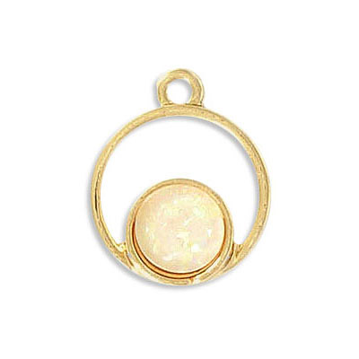 Pendant, 18mm, synthetic iridescent white shell, zamak (zinc alloy), gold plate
